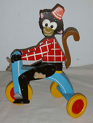 Vintage Wooden Monkey riding a tricycle pull/push toy!