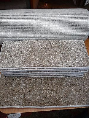 12x STAIR PADS, BROWN FLECK SOFT PILE CARPET WITH LARGE RUNNER BN CHEAP #2041