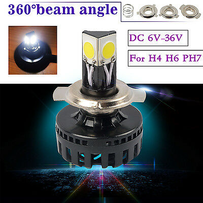 3000Lms 24W Led Headlight White Beam H6 H4 Hi/Low Motorbike Motorcycle Headlamp