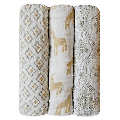 3 Pack Newborn Unisex Baby Girls Boys 100% Cotton Muslin Square Swaddle Blanket
