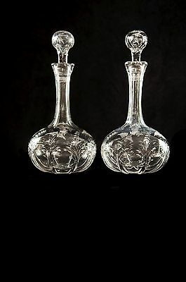 A Pair Of Victorian Hand Cut And Etched Crystal Decanters - Original Stoppers