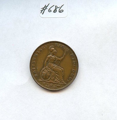 Great Britain 1858 Farthing (#686) Nice AU. Few Marks. Carefully Check out the P