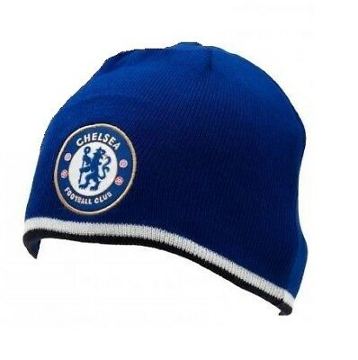 Chelsea FC Royal Blue White Black Knitted Bronx Winter Hat Club Badge Official