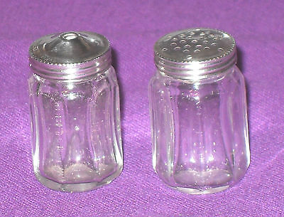 ART DECO 1930s STERLING SILVER & GLASS MINIATURE SALT & PEPPER SHAKERS ANTIQUE