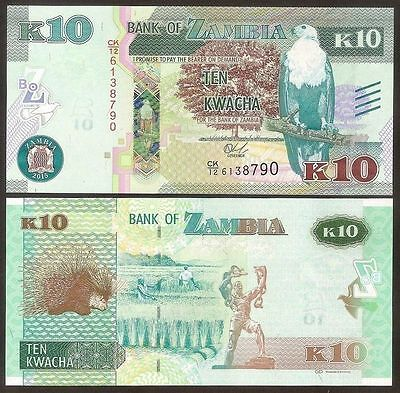 Zambia - 10 Kwacha - new 2015 issue - Blind markings - UNC currency note