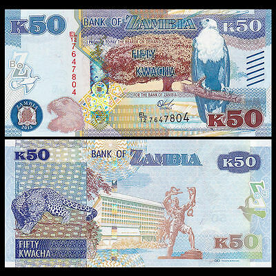 Zambia - 50 Kwacha - new 2015 issue - Blind markings - UNC currency note