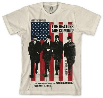 The Beatles - The Beatles Are Coming! T-Shirt Cream New Shirt Tee
