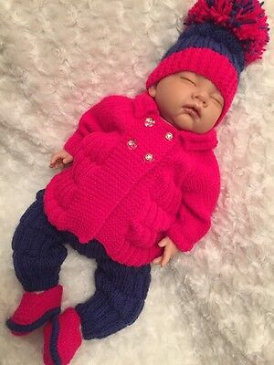 """New: Sweet 4 Piece Knitted Outfit for An 20"""" Reborn Girl"""