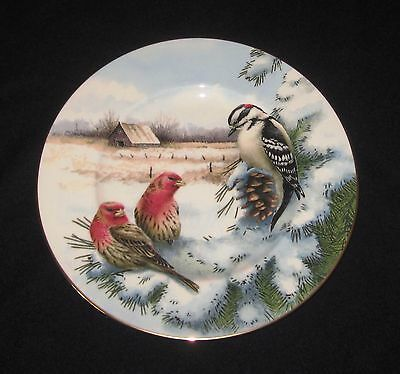 LENOX Winters Greetings SCENIC DOWNY WOODPECKER HOUSE FINCH McClung plate UNUSED