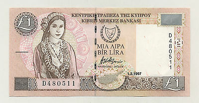 Cyprus 1 Pound 1-2-1997 Pick 57 UNC Uncirculated Banknote