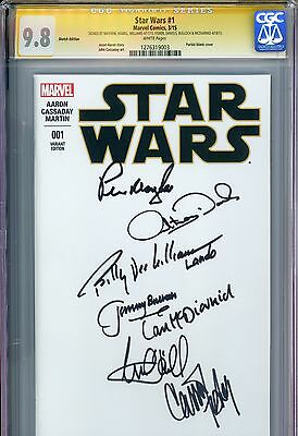 CGC SS 9.8 x7 Star Wars #1 sketch blank signed by Hamill, Fisher, Daniels & more