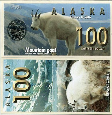 Alaska 100 Northern dollars 2016 UNC Mountain Goat Private Issue