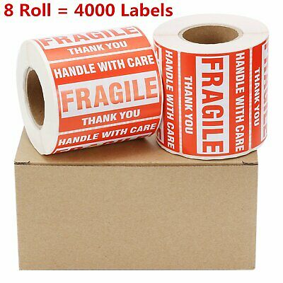 8 Rolls 500/Roll 2x3 FRAGILE Stickers Handle With Care Thank you Shipping Labels