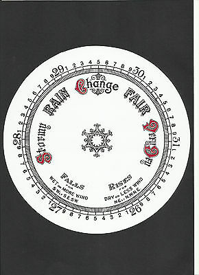 """Aneriod Dial Gloss Card Black & Red 163mm, 6 1/2"""" barometer parts face"""