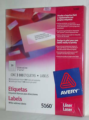 "AVERY White Address 1""x 2 5/8"" Laser Labels #5160 Box 3000 Labels FAST Free Ship"