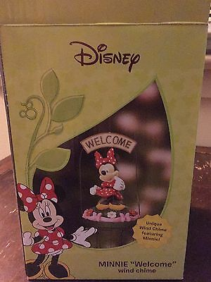 "Disney Minnie Mouse Home & Garden Decor Outdoor Wind Chimes ""welcome"" Brand New"