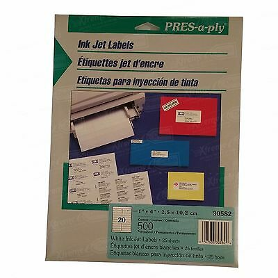 """PRES-a-ply White Ink Jet Labels 500 labels / 25 sheets 1""""x 4"""" (30582)"""