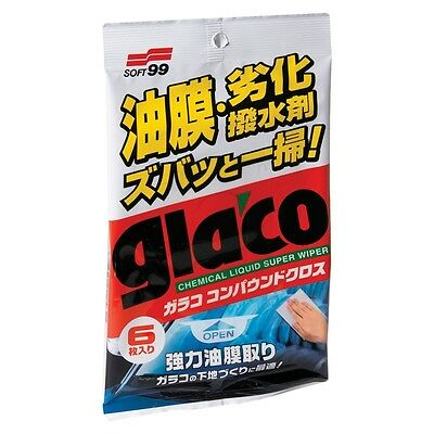 Soft99 Glaco Glass Compound Sheet, 6 sheets in packing