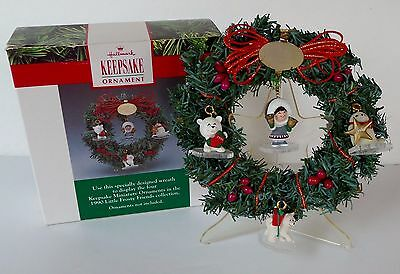 1990 Hallmark Keepsake (4) Miniature Ornaments + Wreath - LITTLE FROSTY FRIENDS