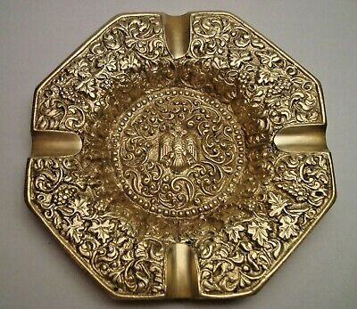 Greece vintage solid brass ashtray with Byzantine Double-Headed Eagle #2