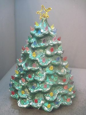 14 Inch Tall Ceramic Christmas Tree With Plastic Lights Beads No Base
