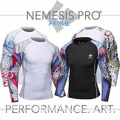 Mens Long Sleeve Base Layer Compression Top Running Gym Cycling