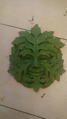 """STONE GARDEN GREEN MAN SMALL FACE LEAF WALL PLAQUE / TILE ORNAMENT 5"""" x 4.2"""""""