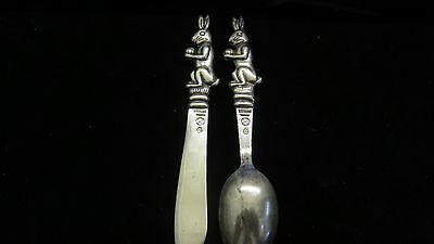 Figural Rabbit~Child's~Knife+Spoon Set~DAMASO GALLEGOS~Taxco~Sterling Silver~Old