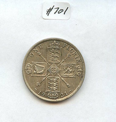 Great Britain 1921 Florin (#701) AU. Cleaned. Some Spotting. Carefully Check out