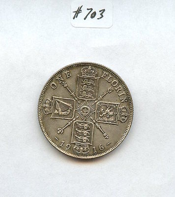 Great Britain 1916 Florin (#703) XF-AU. Carefully Check out the Photos.