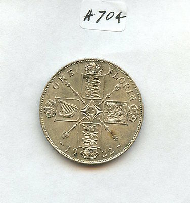 Great Britain 1922 Florin (#704) AU. Few Dark Areas. Carefully Check out the Pho