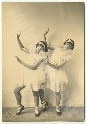 Vintage Photograph c 1920 Two PRETTY YOUNG GIRLS Dance Pose Ballet Tap Dance