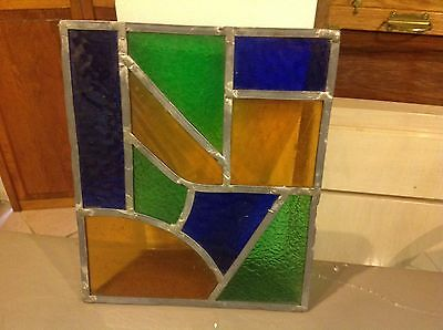 Antique Authentic stained glass window pane Display Vintage from An Antique Door