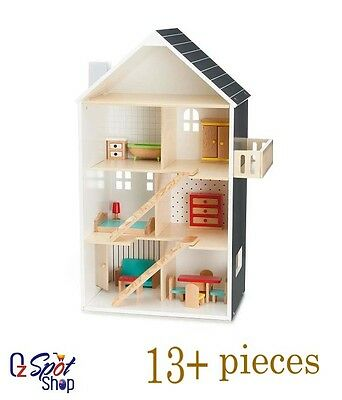 New Modern Dolls House 13 Pieces included Pretend Chairs Bed Tables Doll House