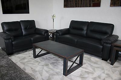 Peachy Ex Display Scs High Quality 3 2 Seater Black Leather Beatyapartments Chair Design Images Beatyapartmentscom