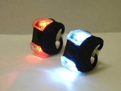 2X Led  Mountain Bike Bicycle Front + Rear Lights Set  Cycle Light Set Clip