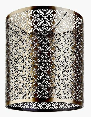 Moroccan Style Antique Tribal Bronze Metal Cut Out Lightweight Pendant Shade