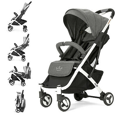 Allis Lightweight Buggy Baby Pram Stroller Travel Pushchair Plume - Grey