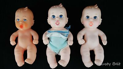 3 Lucky Ind Co / Gerber 1989 Plastic Rubber Baby Dolls