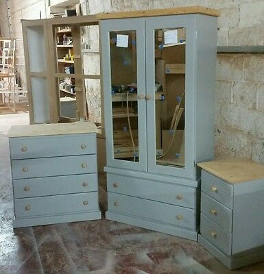 Handmade Crawley 3 Piece Bedroom Set Assmbled (Grey+Pine) Not Flat-Pack!!!
