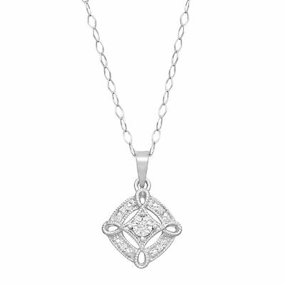 Open Tile Pendant with Diamonds in Sterling Silver