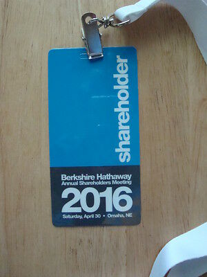 Berkshire Hathaway 2016 Annual Shareholders Meeting Credential Warren Buffett