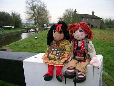 COLLECTABLE LARGE GIANT 30'' ROSIE and JIM NARROW BOAT CANAL DOLLS UNIQUE 90s tv