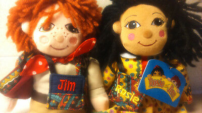 NEW RARE ROSIE & JIM canal narrow boat ragdolls pair beanies dolls with bags/tag