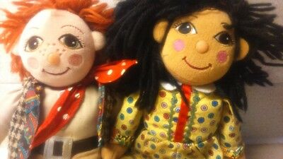 RARE PAIR ROSIE AND JIM canal narrow boat ragdolls collectable beanie toy dolls