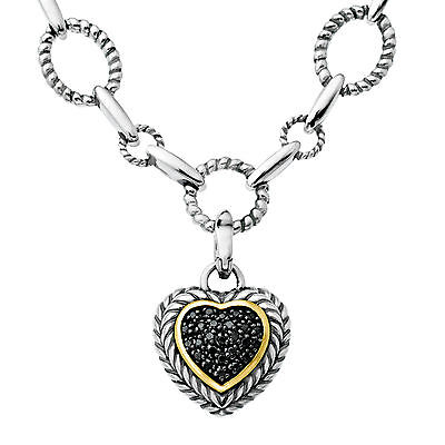 1/10 ct Black Diamond Link Heart Necklace in Sterling Silver & 14K Gold