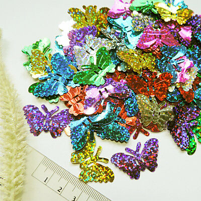 Pailletten SCHMETTERLING * 100 stk * bunt-MIX HOLO* 12x17mm Pailette