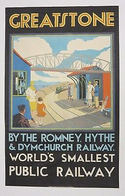 Original 1920s GREATSTONE BY THE ROMNEY British Railroad Travel Poster on Linen