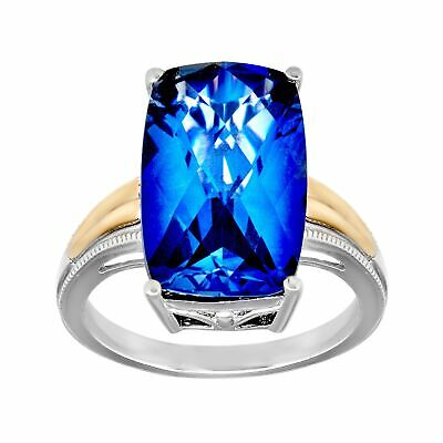 10 ct Created Ceylon Sapphire Ring in Sterling Silver and 14K Gold