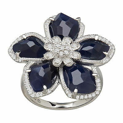 8 ct Natural Sapphire & 1/4 ct Diamond Flower Ring in Sterling Silver